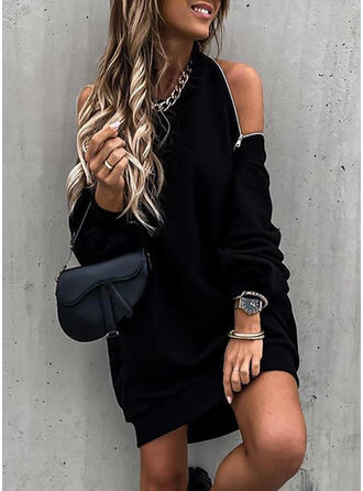 Solid Long Sleeves/Cold Shoulder Sleeve Shift Above Knee Little Black/Sexy/Party Sweatshirt Dresses