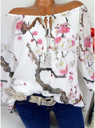 Chiffon Off the Shoulder Print 3/4 Sleeves Casual Blouses