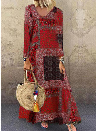 Print/Patchwork Long Sleeves Shift Maxi Casual Dresses