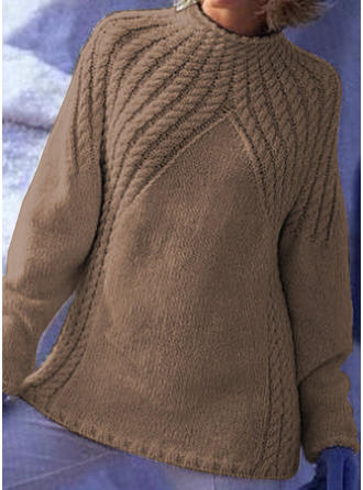 Solid Cable-knit Stand Collar Sweaters
