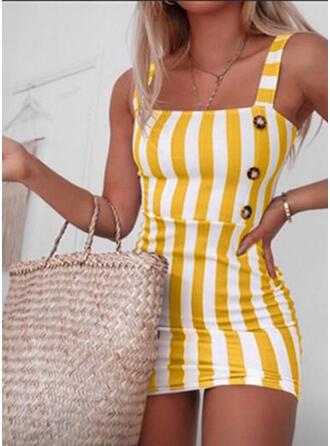 Striped Sleeveless Sheath Above Knee Casual Dresses