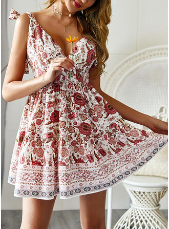 Print/Floral Sleeveless A-line Above Knee Sexy/Casual/Boho/Vacation Dresses