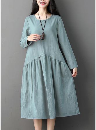 Jednolita Długie rękawy Koktajlowa Midi Casual Sukienki