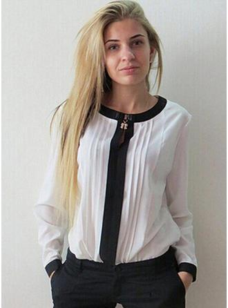 Szyfon Okrągły Dekolt Jednolity kolor Długie rękawy Nieformalny Bluzki