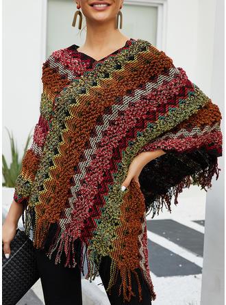 Print Grid Chunky knit V neck Sweaters