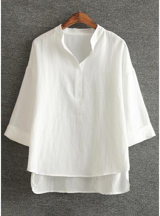 Cotton Linen V Neck Plain 1/2 Sleeves Casual Blouses