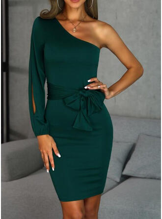 Solid Long Sleeves/Split Sleeve Bodycon Above Knee Little Black/Party Dresses