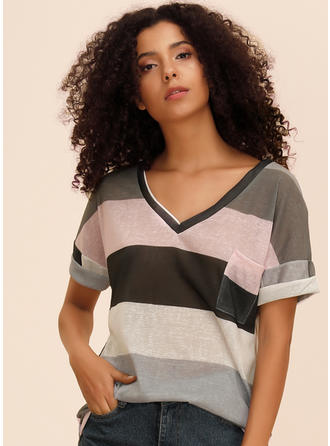Blok Kolorów Litera V Krótkie rękawy Casual T-shirty