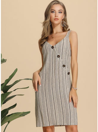 Striped Sleeveless Sheath Knee Length Casual Dresses