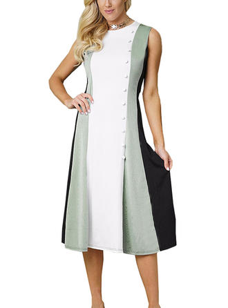 Color-block V-neck Knee Length Sheath Dress