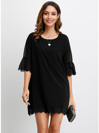Solid 1/2 Sleeves Shift Above Knee Little Black/Casual/Elegant Dresses