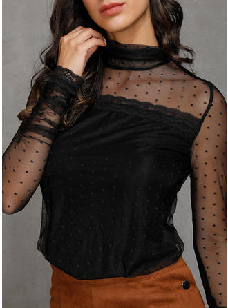 Solid Lace Stand collar Long Sleeves Elegant Sexy Sheer Blouses