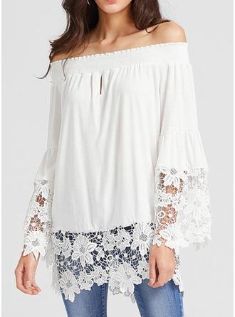 Cotton Off the Shoulder Plain Long Sleeves Ruffle Blouses