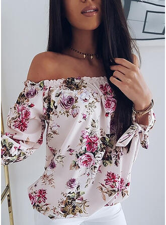 Print Bloemen Off the Shoulder Lange Mouwen Casual Blouses