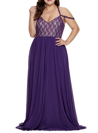 Lace/Solid Sleeveless A-line Maxi Sexy/Party Dresses