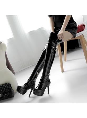 Femmes Cuir verni Talon stiletto Escarpins Plateforme Bottes Bottes hautes avec Zip Autres chaussures