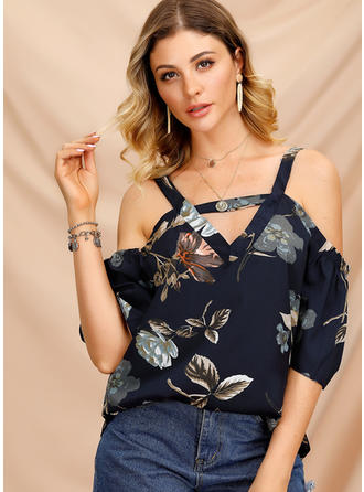 Floreale Spalle esposte Mezze maniche Casuale Sexy Camicie