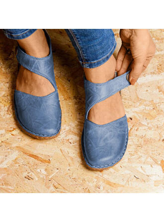 Women's Suede Flat Heel Flats Closed Toe With Velcro shoes