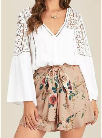 Einfarbig V-Ausschnitt Lange Ärmel Flare Hülse Lässige Kleidung Blusen