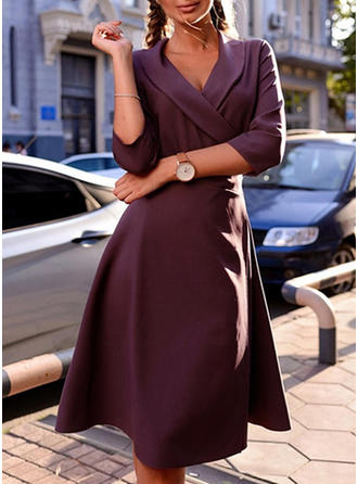 Solid 3/4 Sleeves A-line Knee Length Vintage/Elegant Dresses
