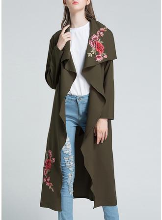 Polyester Manches longues Floral Manteau de Tranchée