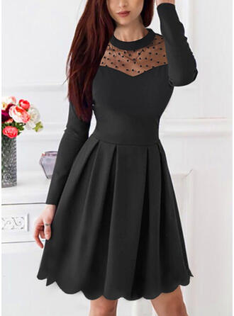 Solid/PolkaDot Long Sleeves A-line Knee Length Little Black/Casual/Party Skater Dresses