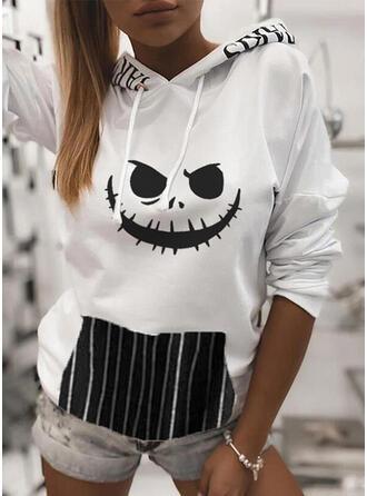 Print Stribe Halloween Lange ærmer Hoodie
