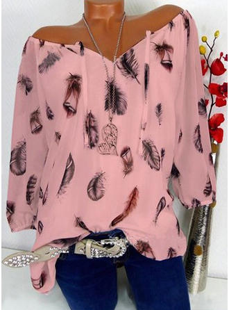 Print Off the Shoulder 1/2 Sleeves Casual Elegant Blouses