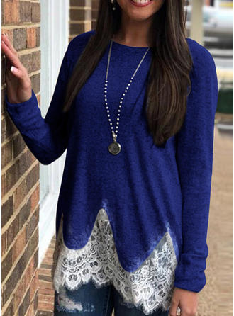 Polyester Round Neck Lace Long Sleeves Casual Blouses