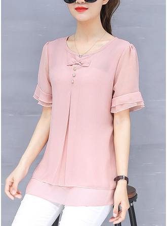 Chiffon Round Neck Plain Short Sleeves Casual Blouses
