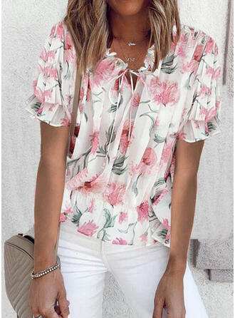 Print Floral Lace-up Round Neck Short Sleeves Casual Blouses