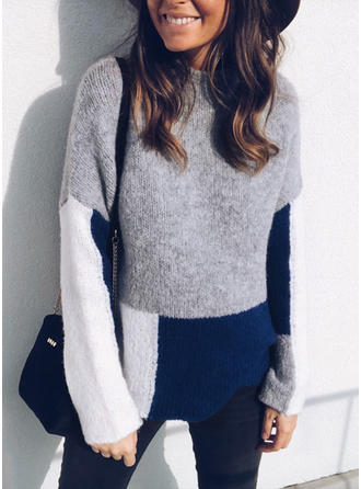 Polyester Stand Collar Color Block Sweater