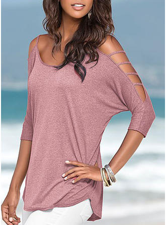 Solid Spaghetti Strap 3/4 Sleeves Casual Blouses