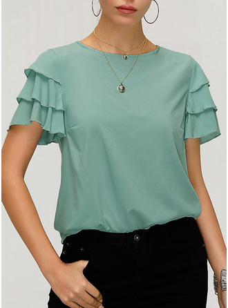 Solid Round Neck Short Sleeves Casual Elegant T-shirts
