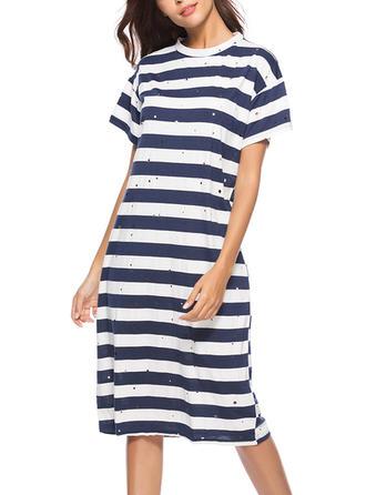 Striped Round Neck Midi Shift Dress