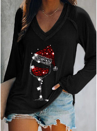 Print V-Neck Long Sleeves Christmas T-shirts