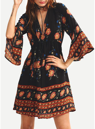 Flare Sleeves A-line Above Knee Casual/Boho/Vacation Dresses