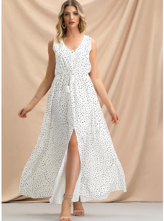 Lace/PolkaDot Sleeveless A-line Maxi Casual/Party/Vacation Dresses
