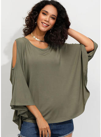 Solid Cold Shoulder Batwing Sleeve 3/4 Sleeves Casual Knit Blouses