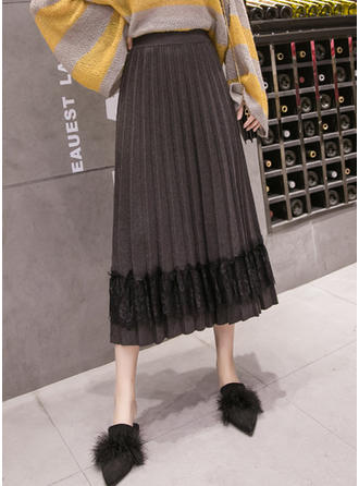Lace Cotton Knitting Lace Mid-Calf Pleated Skirts