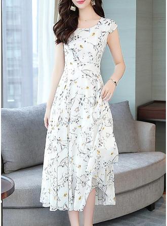 Print/Floral Cap Sleeve A-line Midi Casual Dresses