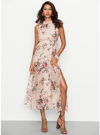 Floral High Neck Maxi Shift Dress
