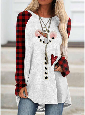 Print Grid Round Neck Long Sleeves Christmas Sweatshirt