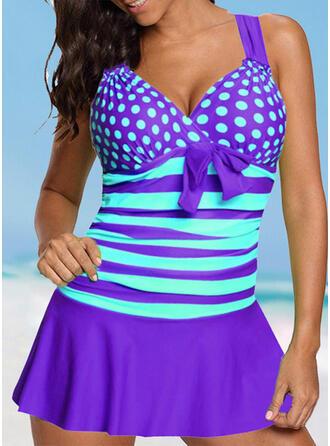 Dot Stripe Strap V-Neck Vintage Fresh Plus Size Swimdresses Swimsuits