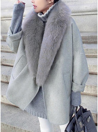 Wool Faux Fur Long Sleeves Plain Wide-Waisted Coats