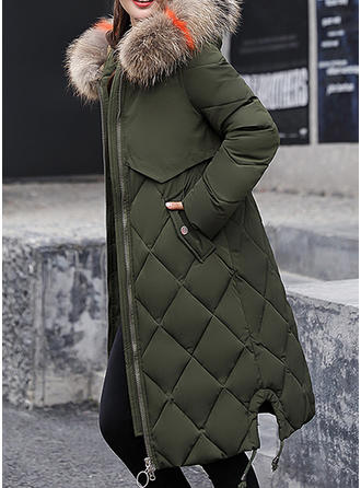Polyester Faux Fur Long Sleeves Plain Down Coats