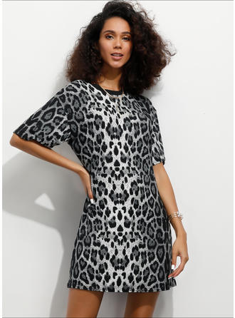 Animal Print 1/2 Sleeves Shift Above Knee Casual Dresses