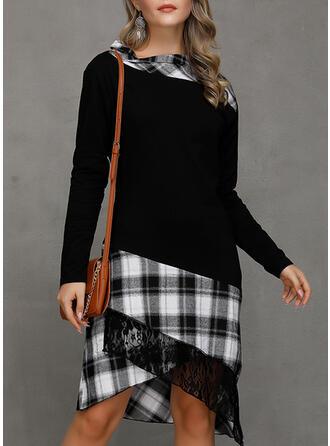 Plaid Long Sleeves A-line Asymmetrical Casual Dresses
