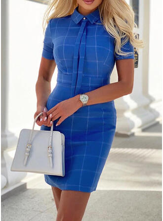 Plaid Short Sleeves Bodycon Above Knee Casual/Elegant Dresses