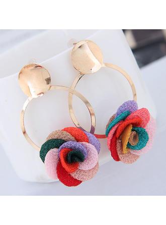 Flower Shaped Alloy Fabric With flower Women's Fashion Earrings